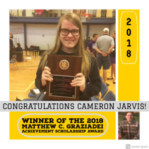Cameron Jarvis wins The 2018 Matthew C. Graziadei Achievement Scholarship Award